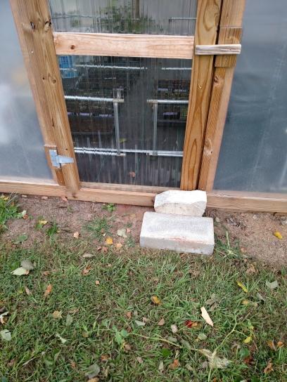 Blocks help secure the door